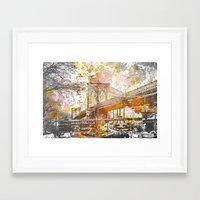 brooklyn bridge Framed Art Prints featuring Brooklyn Bridge by LebensART