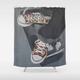 Flowered Converse shoes on a swing Shower Curtain