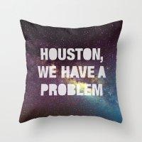 houston Throw Pillows featuring Houston by Text Guy