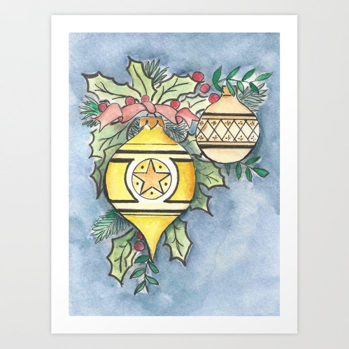 Evergreen and Gold I Art Print