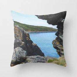 Sea View Through the Rocks, St Ives Cornwall (2) Throw Pillow