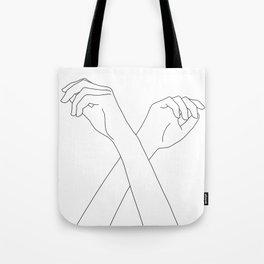 Crossed hands line drawing - Edie Tote Bag