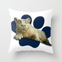 Nittany Lion on Blue Paw Gifts Throw Pillow