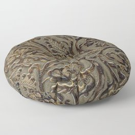 Olive & Brown Tooled Leather Floor Pillow