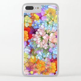 Rainbow Flower Shower Clear iPhone Case