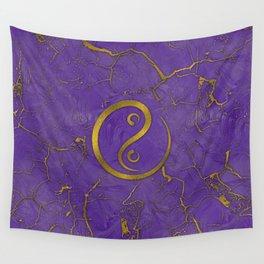 Golden Embossed Yin yangsymbol  on purple Wall Tapestry