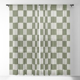 checkerboard hand-painted-olive Sheer Curtain