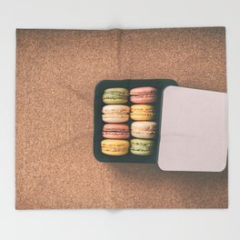French bakery macarons sweet pastries Throw Blanket