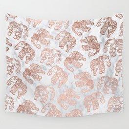 Boho rose gold floral paisley mandala elephants illustration white marble pattern Wall Tapestry