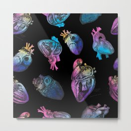 Colourful Anatomical Hearts on Black Metal Print