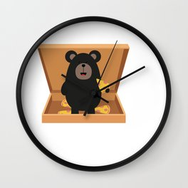 Grizzly in Pizzabox Wall Clock