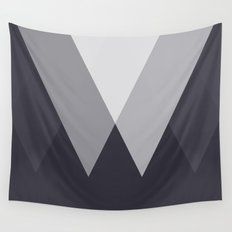 Sawtooth Inverted Blue Grey Wall Tapestry