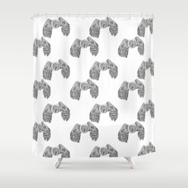 Flying Great Grey Owl pattern Shower Curtain