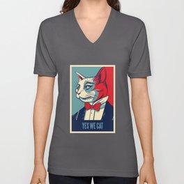 Vintage President Propaganda Cat Yes We Cat Unisex V-Neck
