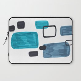 Mid Century Modern Abstract Minimalist Art Colorful Shapes Vintage Retro Style Turquoise Blue Grey Laptop Sleeve
