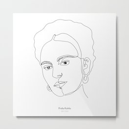 Minimalistic female black and white line drawing of Frida Kahlo Metal Print