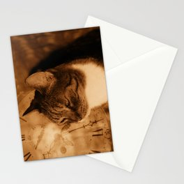 Cat and clock Stationery Cards
