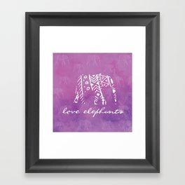 Elephant Love Purple Framed Art Print