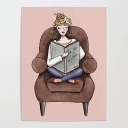 Margaux Sunday Reading Watercolor Poster