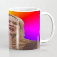 jennifer lawrence Mugs featuring Jennifer Lawrence Rainbow Derp by dashingfoxx