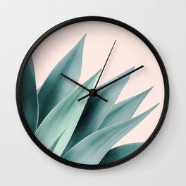 Agave flare II - peach Wall Clock