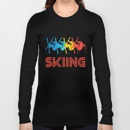 Skier Retro Pop Art Skiing Graphic Long Sleeve T-shirt