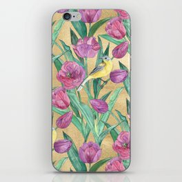 Blue Headed Wagtail in the Tulips iPhone Skin
