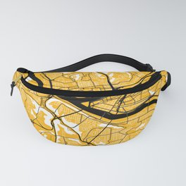 Pittsburgh Steel City Street Map Vintage Maps Black And Gold 412 Pride Fanny Pack