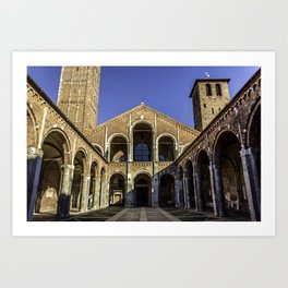 Church Basilica of Sant'Ambrogio in the center of Milan Art Print