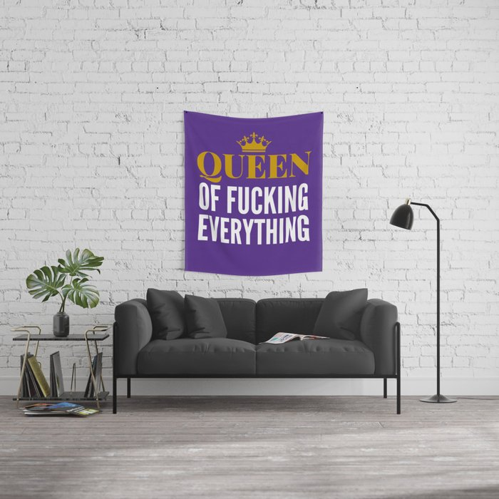 QUEEN OF FUCKING EVERYTHING (Purple) Wall Tapestry