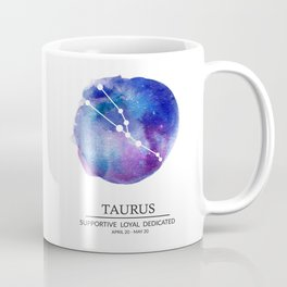 Taurus Watercolor Zodiac Constellation Coffee Mug