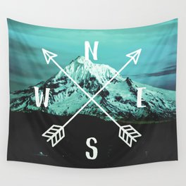 Turquoise Mountain Compass Wall Tapestry