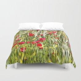 Red Corn Poppies Duvet Cover