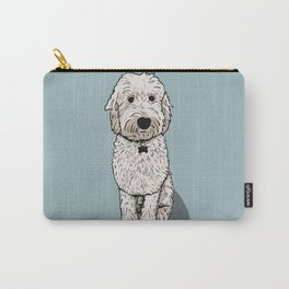 Labradoodle Illustration Blue Background Carry-All Pouch