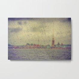 Saint Petersburg cityscape through rain Metal Print