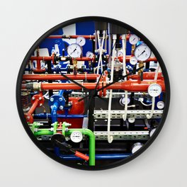 Piping with manometers for industry Wall Clock