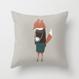 Audrey Enjoys Her Cup of Tea Throw Pillow