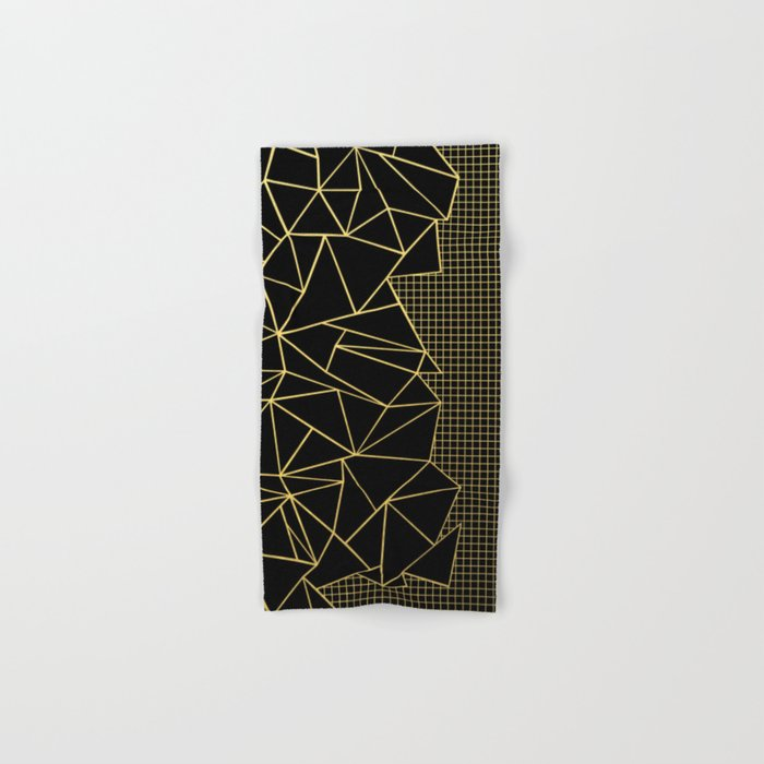 Abstract Outline Grid Gold Hand & Bath Towel