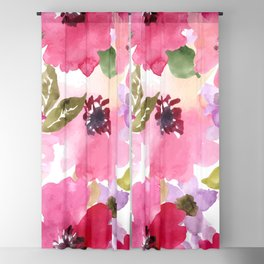 Watercolor Flowers Pink Fuchsia Blackout Curtain