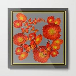 Decorative Orange Butterflies Poppy Floral Grey Art Metal Print