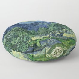 Olive Trees by Vincent van Gogh Floor Pillow