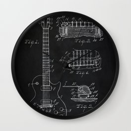 Gibson Guitar Patent Les Paul Vintage Guitar Diagram Wall Clock