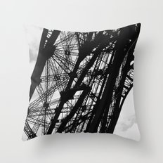 Eiffel Tower Base Detail in Black and White Throw Pillow
