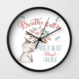 Blessed Aunt T-shirts - Whimsical Elephant Gifts for Aunts Wall Clock