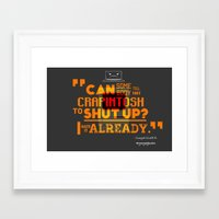 glados Framed Art Prints featuring Googol GLaDOS 2.0 - Crapintosh Typography by hako