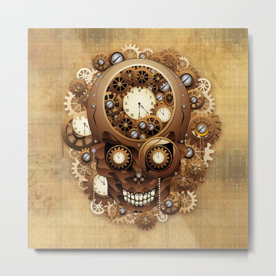 Steampunk Skull Vintage Style Metal Print
