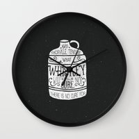 whiskey Wall Clocks featuring WHISKEY by magdam