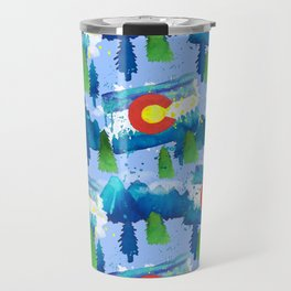 Watercolor Colorado mountains, trees and flag Light Blue Travel Mug