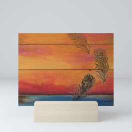 Rising Sun. My Orginal Abstract Painting by Jodilynpaintings. Abstract Sunset With Feathers. Beach Mini Art Print