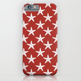 Starfishes (White & Maroon Pattern) iPhone Case
